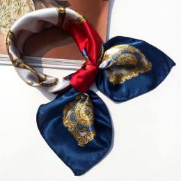 50*50cm wysokiej jakości jedwabny szalik kobiety małe miękkie kwadratowe dekoracyjne szalik na głowę wielokolorowy pasek druku c