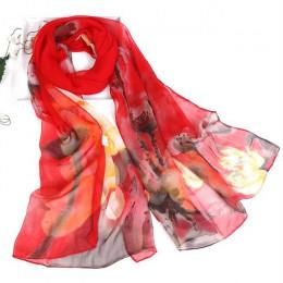 Jedwabny długi szalik damski młodzieżowy w kwiaty czerwony różowy niebieski kolorowy zwiewny przyjemny ładny modny oryginalny