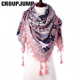 Grupa JUMP moda szalik kobiety duże szale kwiatowy Print etole trójkąt chustka luksusowa marka chustka szaliki kobiet chustki na