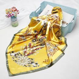 Modny szal szalik do włosów dla kobiet drukowane jedwabne satynowe szaliki hidżab kobiet 90*90cm chustka kwadratowy szale szalik