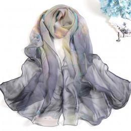 Modny klasyczny elegancki tiulowy szal damski cieniowana ozdobna cienka chusta miękka oryginalne wzory kolorowa