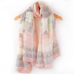 Wysokiej jakości elegancka moda damska długi nadruk bawełna szalik poliestrowy Wrap szal damski duże szale rozmiar 168*78 cm na