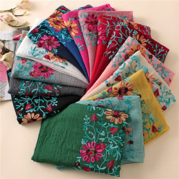 2019 zwykły haftowane kwiatowy szalik wiskozowy szal z indyjskiej chustki w nadruk bawełniane szaliki i chusty fular Sjaal Musli