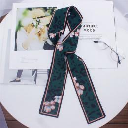 2019 nowy Leopard szalik z wzorem kobiety szalik Skinny jedwabny szal mały uchwyt torba wstążki kobiet szalik szale na głowę i o