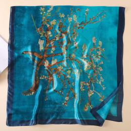 2018 wiosna jesień kobiety luksusowe jedwabny szal abstrakcyjne drzewo drukowanie jedwabiu szaliki i szale nowy duży rozmiar hid