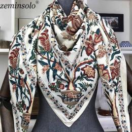 100% jedwabny szal kobiet szalik duże szale kwiatowy druku stuły kwadratowy chustka luksusowa marka chustka szaliki kobiet chust