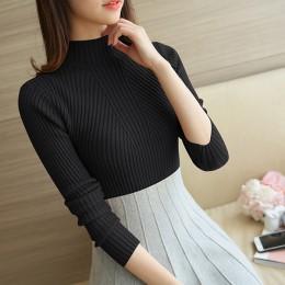 Sweter z golfem kobiety moda 2019 jesień zima czarny topy damskie swetry z dzianiny z długim rękawem Jumper Pull Femme odzież