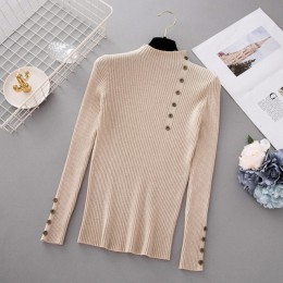 Nowy modny guzik sweter z golfem kobiet wiosna jesień stałe dziergany sweter kobiety Slim miękkie Jumper sweter kobiet z dzianin