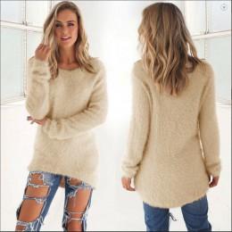 Damski młodzieżowy ciepły sweter dłuższy luźny z długim rękawem zabudowany pod szyję modny elegancki