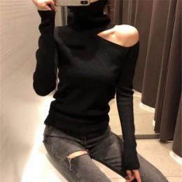 Sweter z dzianiny Off Shoulder swetry sweter dla kobiet z długim rękawem z golfem kobiet Jumper czarny biały szary Sexy odzież