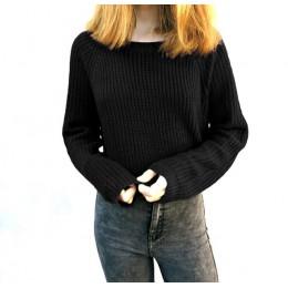 Jesień zima kobiety swetry i pulowery koreański styl z długim rękawem casual crop sweter slim stałe swetry z dzianiny sweter muj