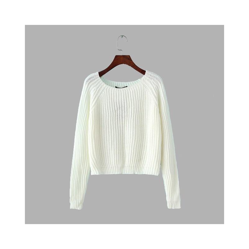 d700867bc5b5e6 ... Jesień zima kobiety swetry i pulowery koreański styl z długim rękawem  casual crop sweter slim stałe ...