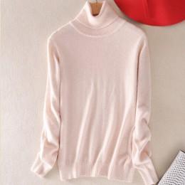 Kaszmirowy sweter dla kobiet z golfem miękki ciepły modny oryginalny z długim rękawem luźny