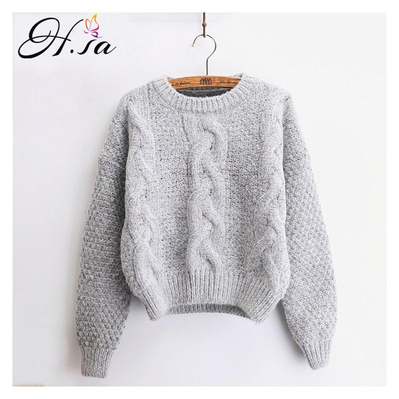 H. SA kobiet swetry ciepły sweter i swetry Crewneck moher