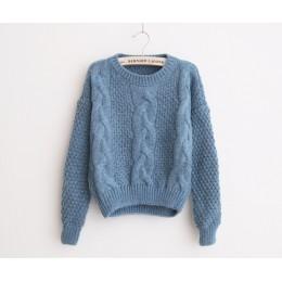 Ciepły zimowy sweter na długi rękaw z ozdobnym splotem zabudowany pod szyję klasyczny elegancki krótki