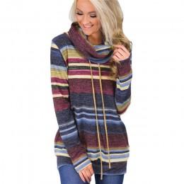 Sweter z golfem kobiet jesień zima z długim rękawem sweter 2018 w paski wielokolorowy luźny pulower zasznurować sweter z dzianin