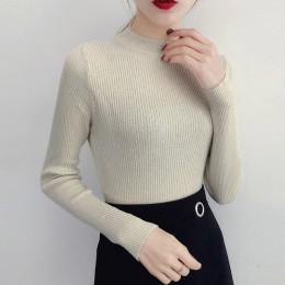 Błyszczący Lurex jesień zima sweter kobiet z długim rękawem swetry kobiety podstawowe swetry z golfem 2019 koreański styl dziani