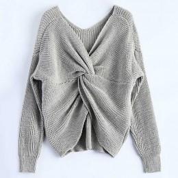 Retro 4 kolory V Neck Twisted z powrotem sweter kobiet swetry jesień swetry Casual bluzki z długim rękawem swetry z dzianiny pul
