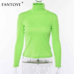 Fantoye fluorescencyjny zielony Turtuleneck sweter z dzianiny kobiet jesień zima na co dzień z długim rękawem prążkowany sweter