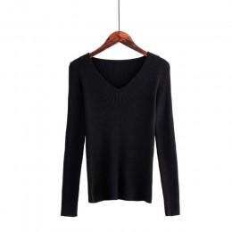 Jesień V Neck sweter z dzianiny moda damska swetry 2018 zima topy dla kobiet sweter Jumper Pull Femme Hiver Truien Dames