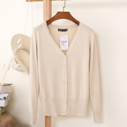 27 jednolity kolor kobiet sweter dziergany płaszcz jesień zima 2019 dorywczo dekolt w serek z długim rękawem szydełkowany sweter