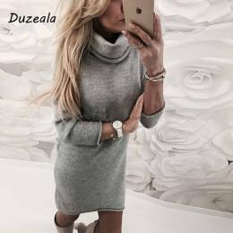 2018 moda damski sweter stałe sweter z golfem długie na co dzień z długim rękawem Pullove sukienka z golfem Sueteres Vestido Gol