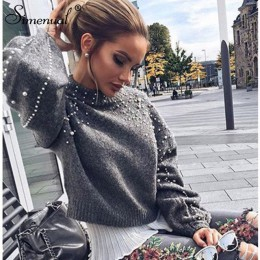 Simenual jesień zima 2018 kobiety swetry i pulowery koralik latarnia rękaw sweter z dzianiny sweter kobiet szary szczupła swetry