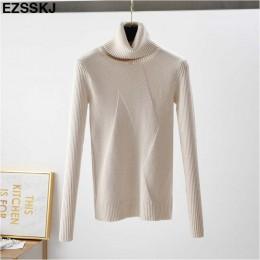 Chic jesień zima gruby sweter swetry damskie z długim rękawem casual ciepłe podstawowe sweter z golfem kobiet dzianiny bluzy top