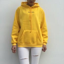 Nowy 2018 moda sztruks długie rękawy Oh tak list drukowanie Harajuku dziewczyna światło żółty swetry topy O-neck kobieta sweter