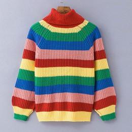 Simenual Rainbow swetry z golfem kobiet zima 2018 swetry z dzianiny ubrania moda paski sweter oversize kobiet sprzedaż