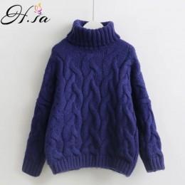 H. SA kobiety swetry z golfem jesień zima 2017 Pull skoczków europejskiej Casual Twist ciepłe swetry kobiet ponadgabarytowych sw