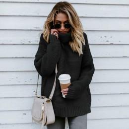 JAPPKBH zima sweter kobiety moda na co dzień stałe sweter z golfem ciepłe w stylu Vintage luźna z długim rękawem dziergany swete