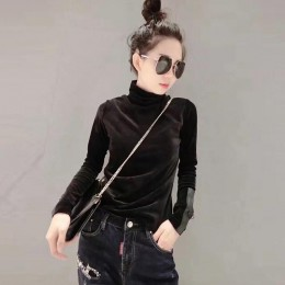 2018 kobieta aksamitne ciepłe najniższy pół sweter z golfem swetry nowa moda jesień koreański długi rękaw sweter sweter
