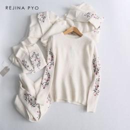 Rejina pyo kobiety biały kwiatowy haft dzianiny sweter kobiet luźne O-neck wygodne sweter 2019 wiosna nowy nabytek
