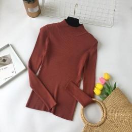 WWENN sweter z długim rękawem 2019 jesienne damskie swetry sweter ciepłe zimowe Jerseis Mujer z golfem topy bluzy Jaqueta Femini