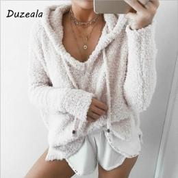 2018 jesień Top kobiety na co dzień moher z kapturem swetry V Neck sweter polarowy moda słodkie luźne ciepłe zimowe moher topy s
