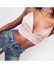 2019 lato Bralette Crop Top Sexy różowy zamszowy stanik na ramiączkach na co dzień kobiety topy