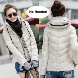 2019 kurtka zimowa kobiety Plus Size kobiet parki zagesccie kurtki płaszcze z kapturem stałe krótki kobiet szczupła bawełny wyśc