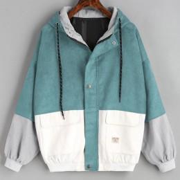 Kurtki i płaszcze kurtki z długim rękawem sztruks Patchwork Oversize kurtka z zamkiem wiatrówka płaszcze i kurtki kobiety 2018JU