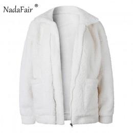 Nadafair plus rozmiar polar faux shearling futro kurtka płaszcz kobiety jesień zima pluszowe ciepłe gruby pluszowy płaszcz kobie