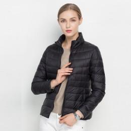 Kobiet płaszcz zimowy 2018 nowy Ultra lekki biały puch kaczy kurtka szczupła kobiet zima kurtka pikowana przenośny wiatroszczeln