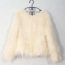 Futrzane futro damskie puszyste ciepłe z długim rękawem odzież wierzchnia jesień zima płaszcz kurtka owłosione płaszcz bez kołni