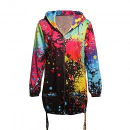 Modna długa sportowa bluza dresowa damska z kapturem zapinana na zamek z kieszeniami wzór imitujący zachlapanie farbami