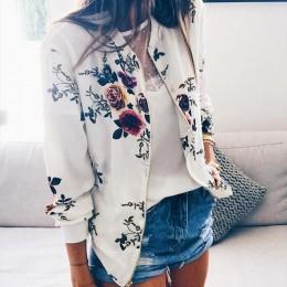 Floral wydrukowano wiosna kobiet kurtki Plus rozmiar krótki płaszcz kobiet zamek Chaqueta z długim rękawem kobiety bombowiec kur