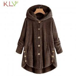 Kobiety kurtka ciepła bluza z kapturem na zimę przycisk luźna długa 2018 Plus Size panie Chamarra Cazadora Mujer płaszcz dla dzi