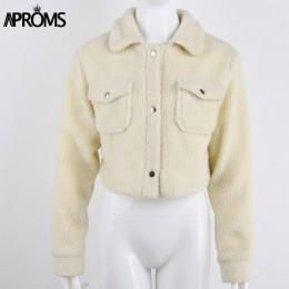 Aproms elegancki jednolity kolor przycięte pluszowa kurtka kobiety z przodu kieszenie gruby ciepły płaszcz jesień zima miękkie k