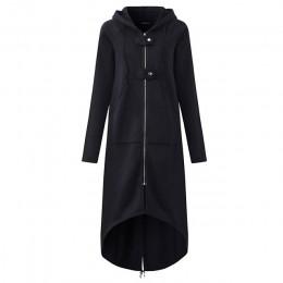 CROPKOP moda z długim rękawem trencz z kapturem 2018 jesień czarny zamek błyskawiczny Plus rozmiar 5XL aksamitna długi płaszcz k