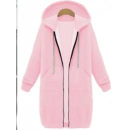 Kenancy Plus rozmiar Zip Up bluza z kapturem kobiety kurtka z długim rękawem kieszenie bluzy z kapturem na co dzień jesień zima