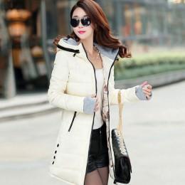 Kobiety zima ciepła kurtka z kapturem Plus rozmiar bawełna w cukierkowym kolorze kurtka watowana kobiet długi Parka kobiet watow