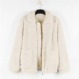 Gorąca sprzedaż 2018 kobiet kurtka z owczej wełny jesień zima ciepły płaszcz z 2 kieszeni codzienna odzież wierzchnia wielbłąd o